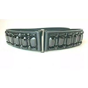 Black Rhinestone & Faux Leather Stretch Belt Sz 2